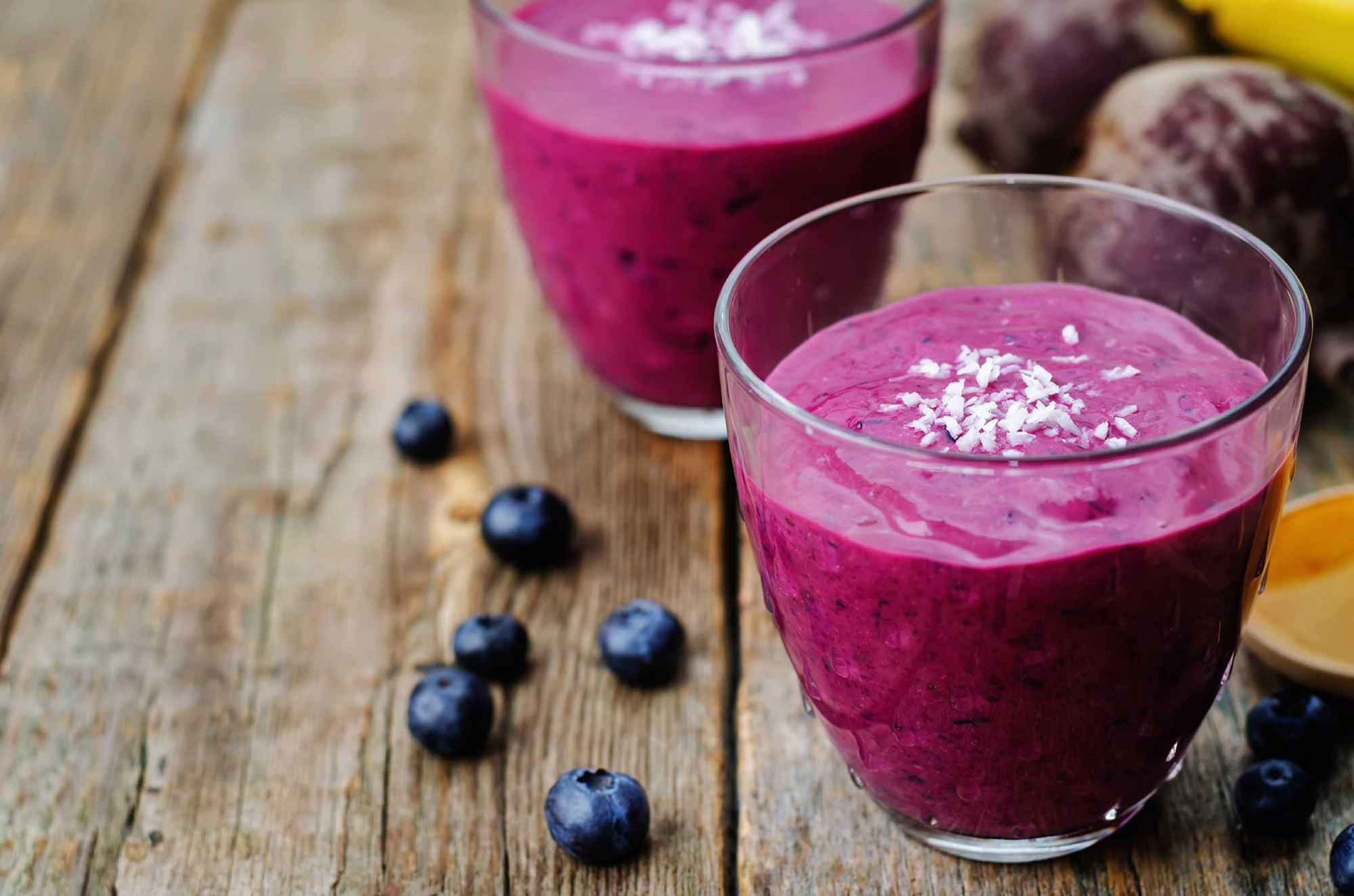beet banana coconut blueberry Chia seed smoothies